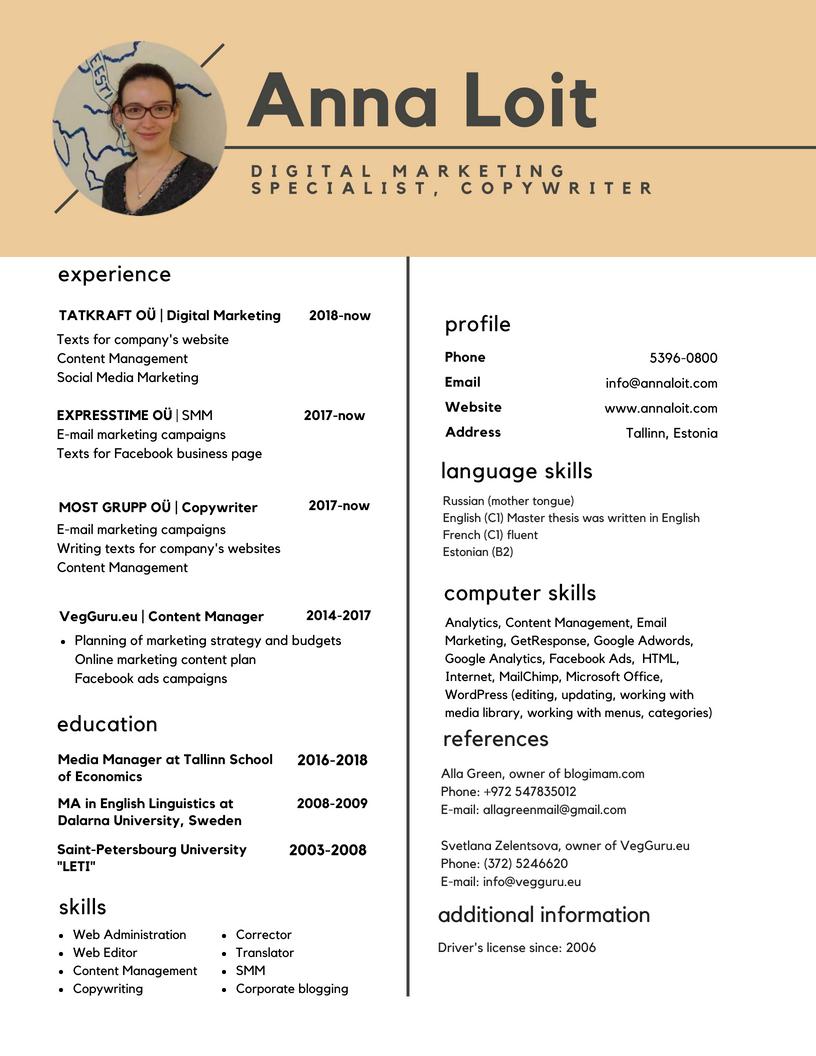 Anna Loit CV